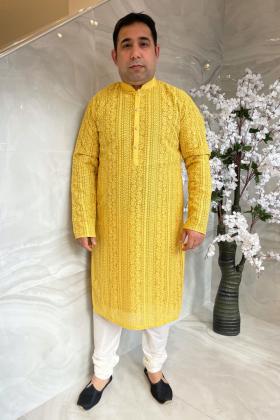 Men's 2 piece luxury embroidered suit in mustard