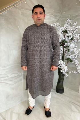 Men's 2 piece luxury embroidered suit in dark grey