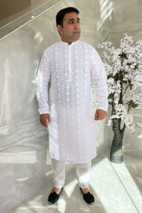 Men's 2 piece luxury embroidered suit in white