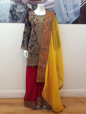 Purple mehndi style chiffon embroidered outfit
