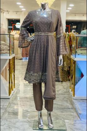 Peplum brown dress withsilver diamonds border