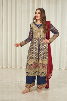 3 Piece luxury embroidered plazo suit in navy