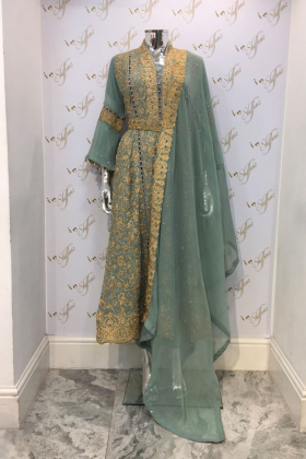 Blue embroiders chiffon partywear