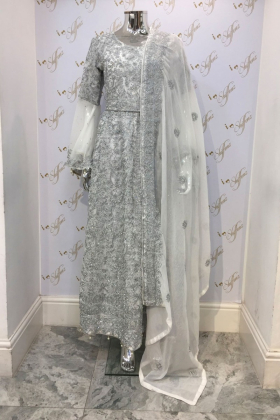 White silver embroidered chiffon dress
