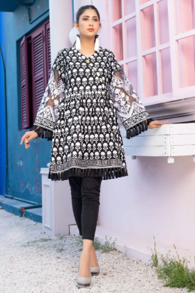 Block printed beautiful lawn kurta in black for Eid 2021
