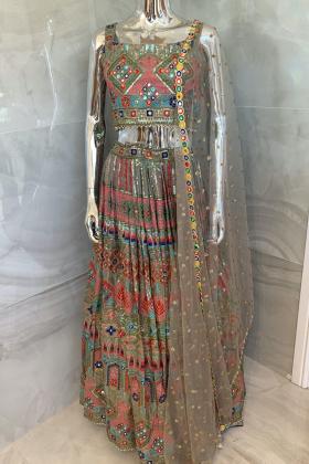 3 Piece luxury embroidered lengha choli in khakhi