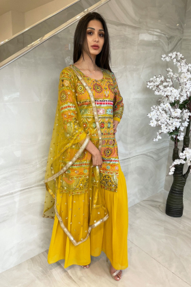 3 Piece chiffon embroidered gharara suit in mustard