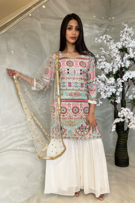 3 Piece chiffon embroidered gharara suit in white