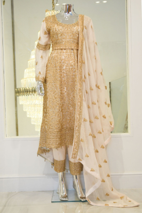 Light pink heavy gold threadwork embroidered outfit