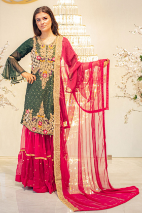 Mehndi 3 piece green embroidered suit