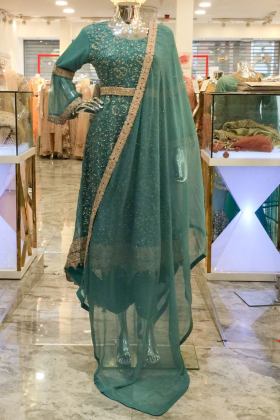 Turquoise 3 piece long embroidered dress