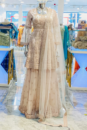 Net 3 piece light pink luxury embroidered lengha suit