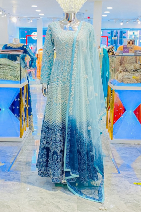 Stunning skyblue 3pcs net party wear