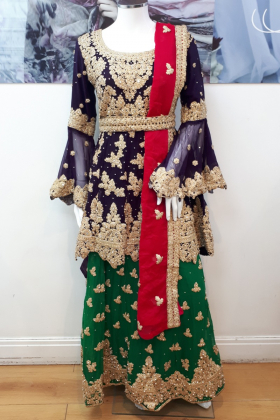 Beautiful 3 piece luxury embroidered purple mehndi suit
