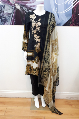 Black printed 3 piece suit with digital printed dupatta