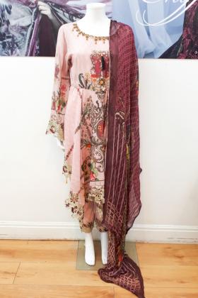 IVANA 3 piece pink printed peplum style suit