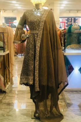 Long Brown 3pcs Dress