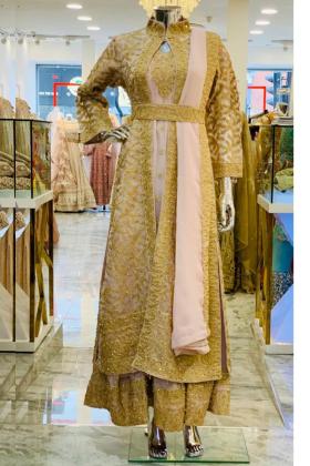Dusty pink gold doriwork Jacket style dress