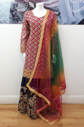 Pink gold embroidered traditional mehndi dress