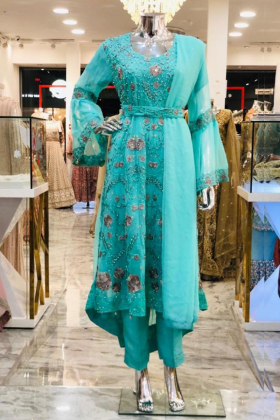 See Through Chiffon Long Sea Green Dress