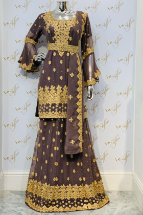 Dark brown gold embroidered modern lengha suit