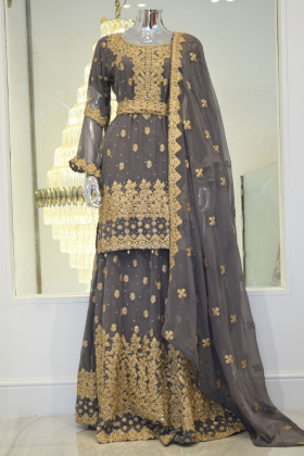 Light grey embroidered lengha suit