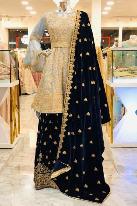 Sky blue gold doriwork and silver diamonds luxury lengha dress