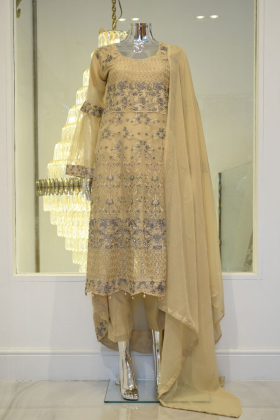 3 Piece long beige embroidered outfit
