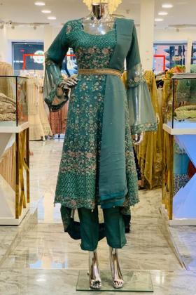 Green gold threadwork 3 piece trouser suit