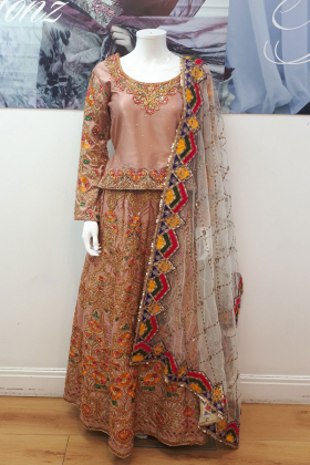 Multi colour embroidered lengha suit