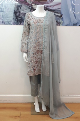 Sky blue embroidered trouser suit