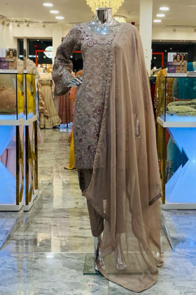 Beige embroidered 3 piece trouser suit