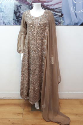 Three piece embroidered dress in brown