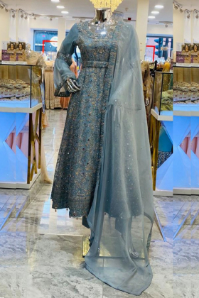 Sky blue 3 piece embroidered partywear