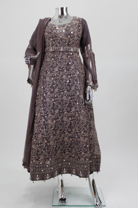 Three piece embroidered dress in mauve