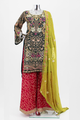 Green pink embroidered modern mehndi suit