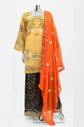Yellow embroidered modern mehndi suit