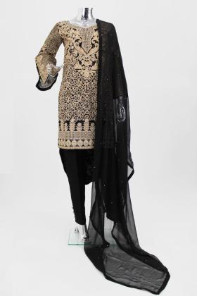Black gold tila work modern punjabi trouser suit