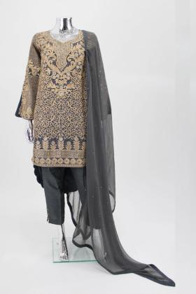Three piece tila work punjabi trouser suit in grey