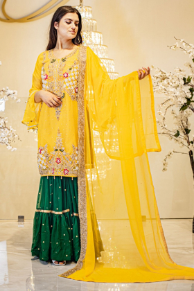 Mehndi 3 piece yellow embroidered suit