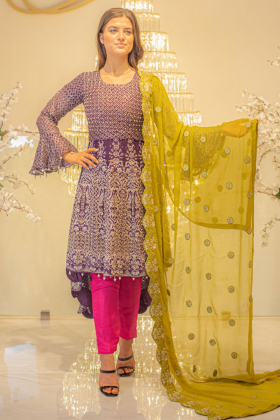 Purple 3 piece long back tail embroidered mehndi suit