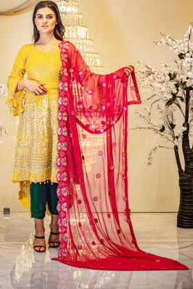 Yellow 3 piece long back tail embroidered mehndi suit