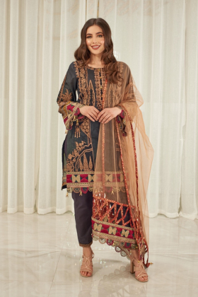 Ivana 3 piece luxury lawn embroidered suit in green