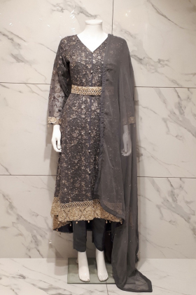 Dark grey 3 piece chiffon embroidered breezamaxi