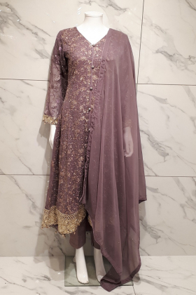 3 Piece lilac chiffon embroidered breezamaxi