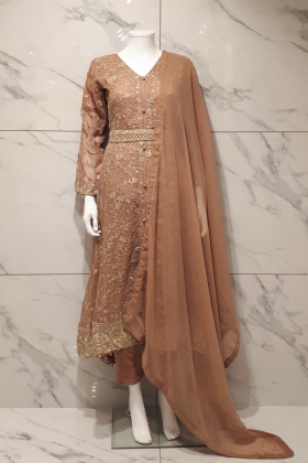 Peach 3 piece chiffon embroidered long breezamaxi