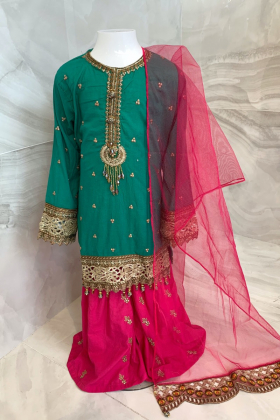 Ivana kids 3 piece luxury embroidered lawn gharara suit in green and pink