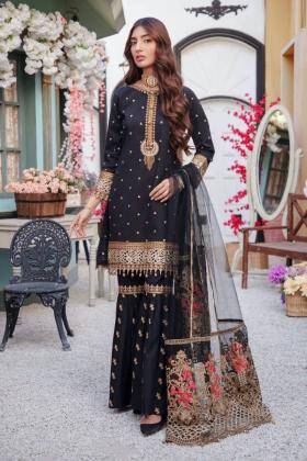 Ivana 3 piece lawn luxury embroidered garara suit in black