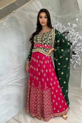 3 Piece green and pink lengha mehndi style suit