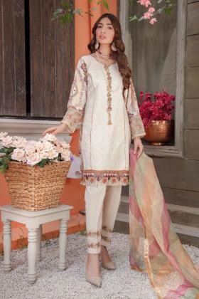 Ivana latest 3 piece beige luxury lawn casual Eid attire for 2021
